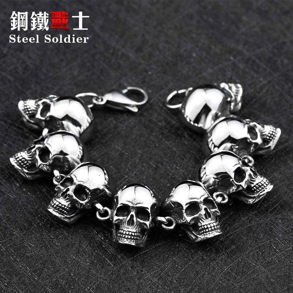Steel soldier 2017 Skull Bracelet For Man New Cool Punk 316 Stainless Steel top Quality Jewelry 2 7y kids boy girl flag pocket casual long sleeve t shirt tops red white