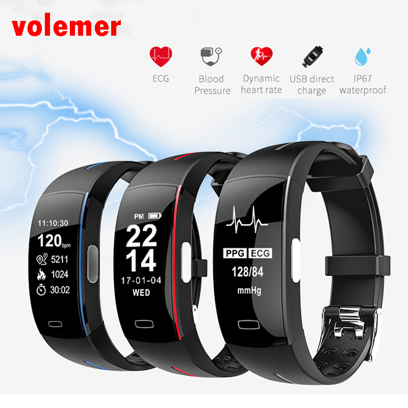 Volemer P3 Smart Wristband Support ECG+PPG Blood Pressure Heartrate Monitoring IP67 waterproof Pedometer Sports Fitness Bracelet