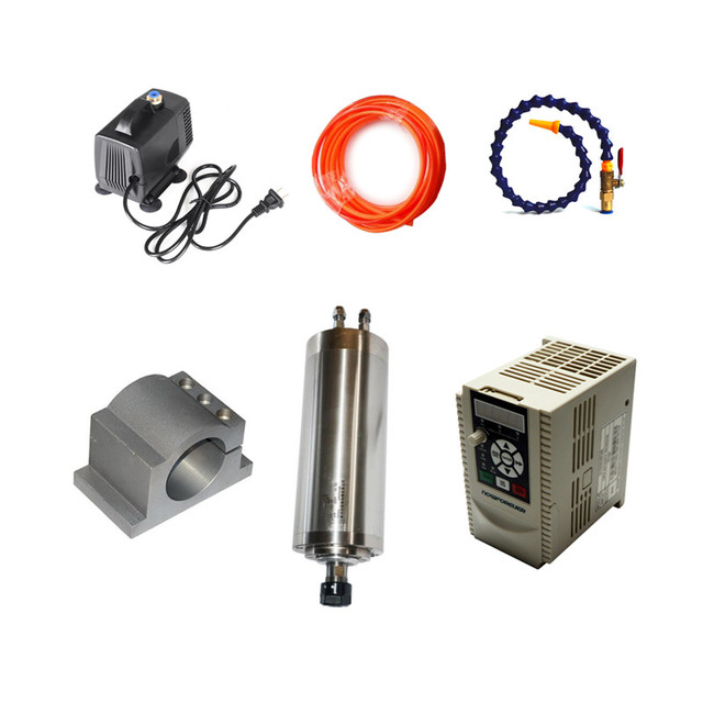 800W CNC Router Spindle Motor ER11 Milling Spindle Kit & 1.5kw VFD 65mm Clamp Water Pump for MINI cnc