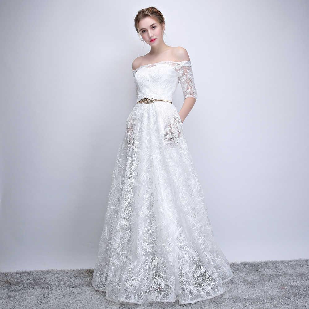 de2711166ad ... 2018 новое белое свадебное платье с вырезом лодочкой с короткими  рукавами простое платье в пол с ...
