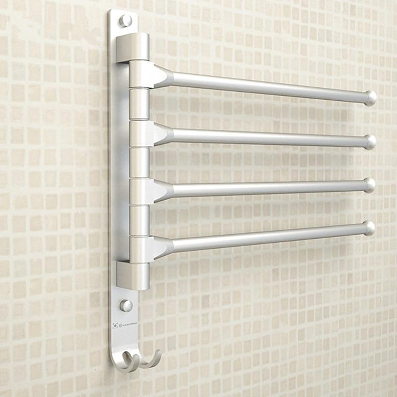 European Space Aluminium Towel Rack 4/3/2 Arms Towel Hanging with Hooks Bathroom Towel Rack Movable Towel Bars Bathroom Products
