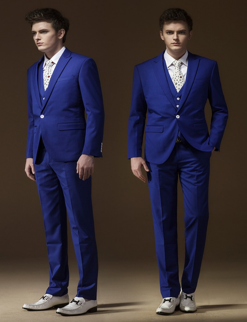 Royal Blue Handsome One Button Groom Tuxedos Best Man Suit Wedding ...