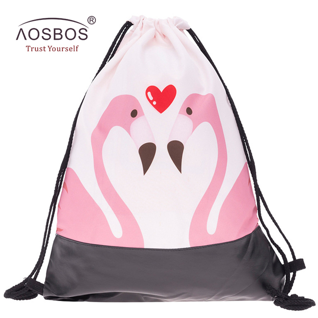 4519784bb9 Aosbos 2018 New Flamingo Drawstring Backpack Sports Bag for Women Fitness  Outdoor Training Gym Bag Print Drawstring Beach Bags