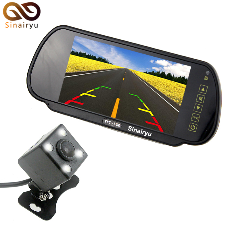 Auto Parking Reverse Camera Monitors, 7 inch Car Rear View Mirror Monitor With IR Night Vision Rear View Camera 2 Video Input 7 inch tft lcd color auto car monitor 2 video input car rear view parking monitor wireless 10 ir car rear view reverse camera