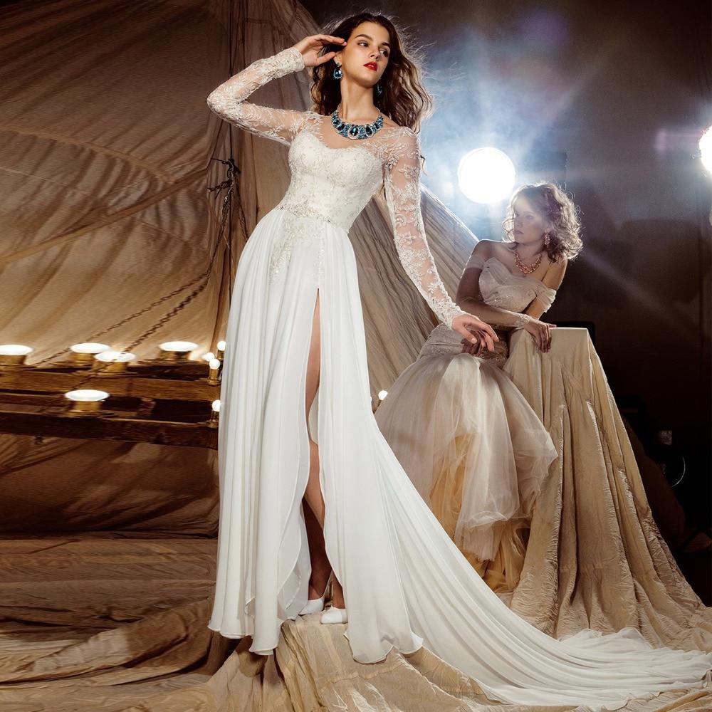 Elegant Woman Sexy Sheer Long Sleeve Beach Wedding Dress