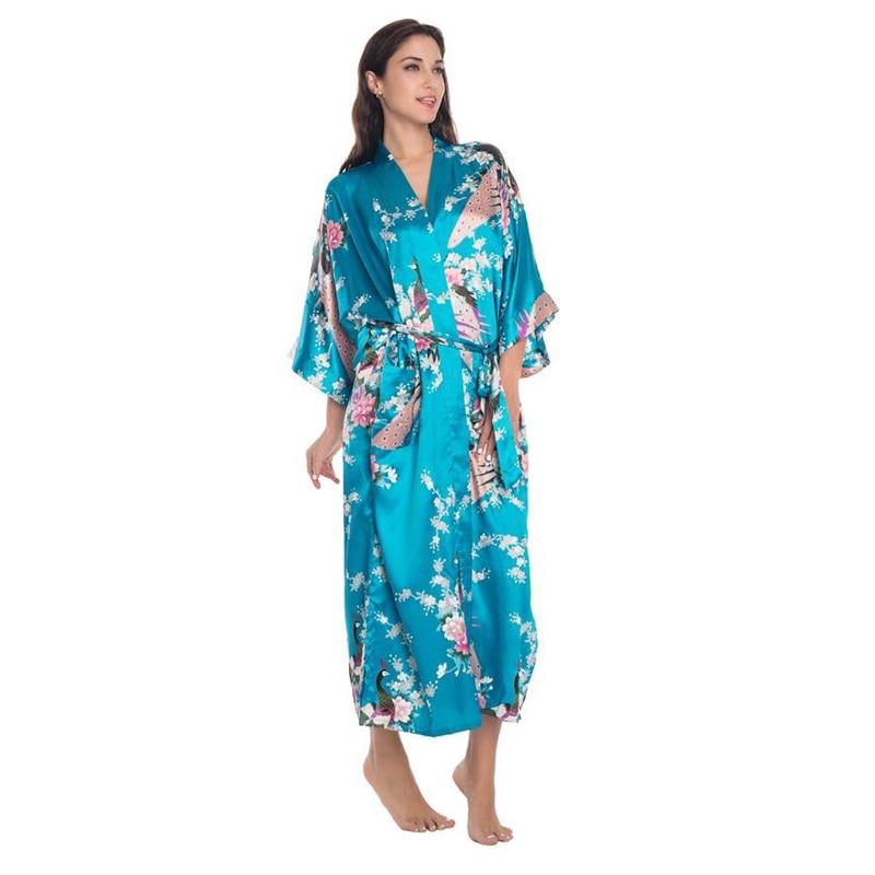 Blue Chinese Women Long Silk Rayon Robe Kimono Yukata Bath Gown Sexy Lingerie Sleepwear Flower Plus Size S M L XL XXL XXXL BR035