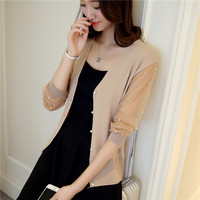 48 Spring New Slim V Neck Knit Shirt Sleeve Lace Cardigan Beaded Female Coat F1776