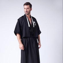 Mannen Traditionele Japanse Kimono Samurai Kleding met Obi Traditionele Yukata Haori Halloween Kostuum Stadium Nationale Kleding(China)
