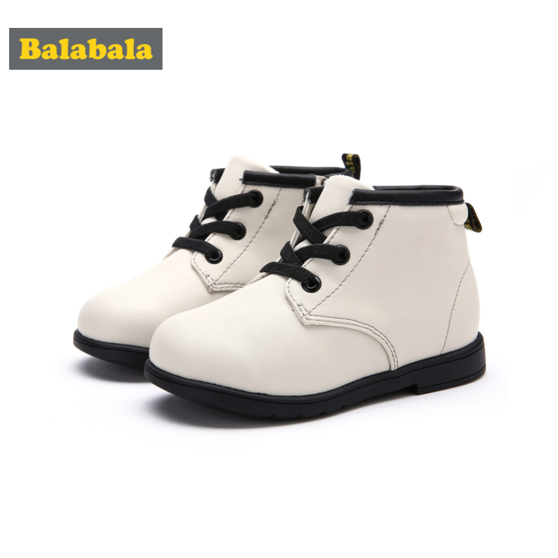 Balabala Toddler Boys Girls Leather Fleece-Lined Ankle Boots 6 Eye Lace-up Boots For Children Kids With Zip Closure At Side