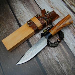 Image 2 - יפן יד מזויף ציד ישר סכין 59 60hrc דמשק תבואה חיצוני קמפינג חד טקטי סכין + גלם עץ נדן