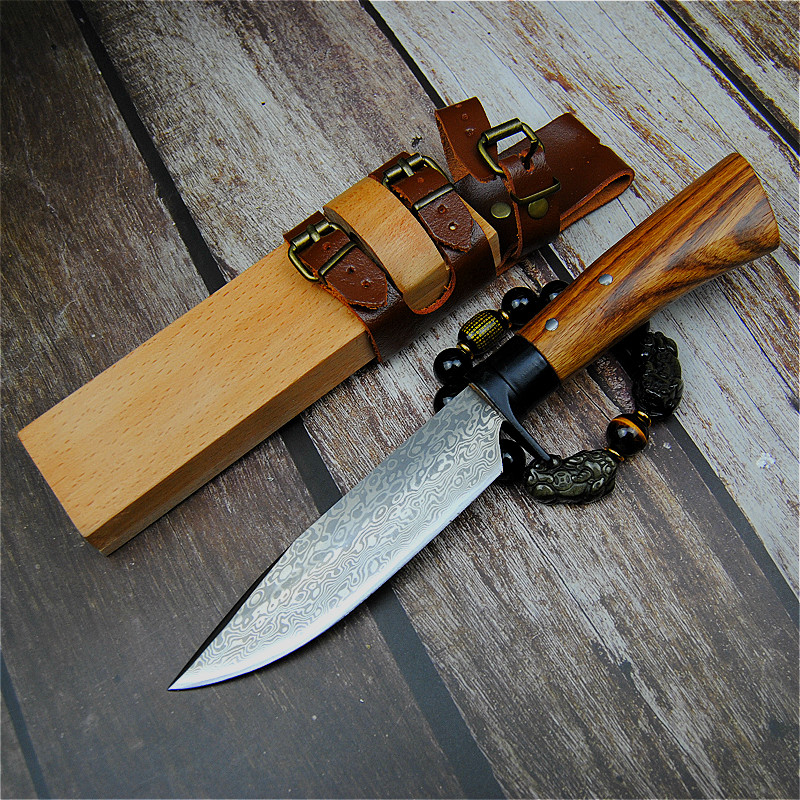 Japan Forged Camping  Straight  Hand 59 Hunting Raw Wood Outdoor Scabbard Knife Tactical Sharp Grain Knife Damascus 60hrc