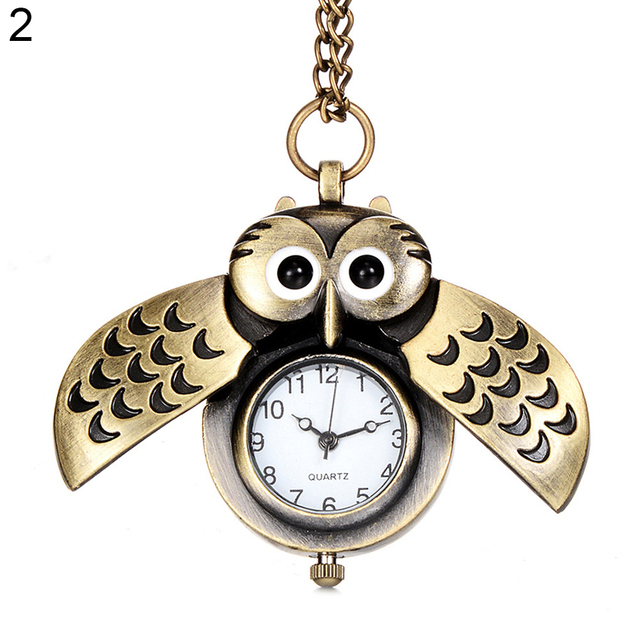 Antique Cartoon Owl Wing Pocket Watch Quartz Analog Pendant Necklace Xmas Gift