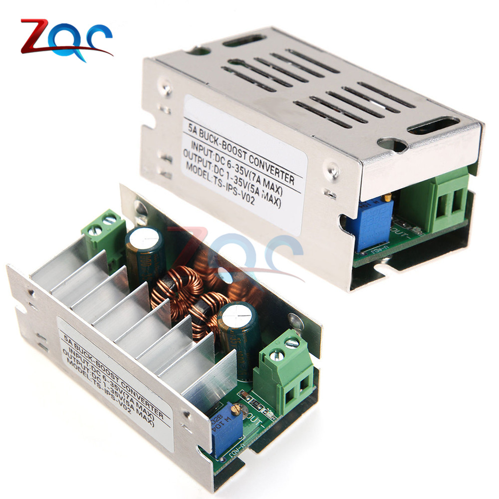 5A DC 6-35V 1-35V Auto Boost Buck Step Up Down Converter Module adjustable power supply Voltage Regulator With Aluminum Case dc dc 1 8 5v to 3 3v step up down boost buck converter 2 in 1 power supply module regulator with short circuit protection