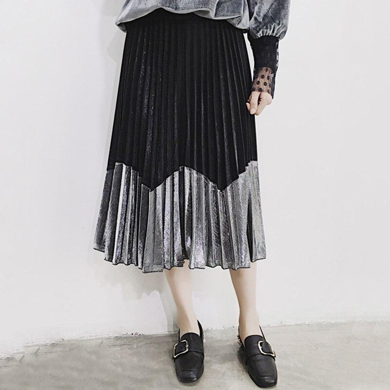 e64999e43 TWOTWINSTYLE metálico sensación plisado falda Vintage de cintura alta Midi  Tutu faldas para mujer estilo de verano Mujer ropa Casual