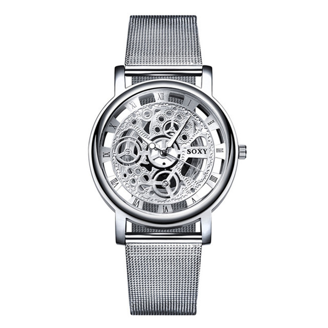 Top Brand Hollow Silver And Gold Alloy Mesh Belt Watches Lover Quartz Wristwatch