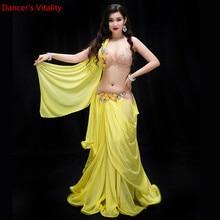 أداء جديد ملابس الرقص مجموعة الرقص الشرقي B/C كوب الشيفون تنورة طويلة النساء المهنية ملابس رقص البطن مجموعة