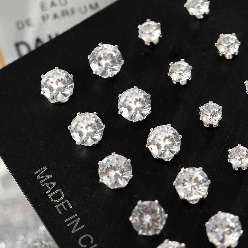 17KM mode cubique zircon boucles d'oreilles ensemble pour femme ronde argent boucle d'oreille incroyable prix déclaration fête bijoux cadeau 12 paires