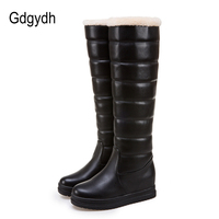 Gdgydh Platform Snow Boots Women Knee Height Plush Insole Black White 2017 New Winter Russian Warm Shoes Outerwear Plus Size 43