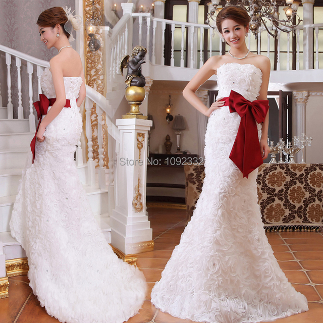 2855cf74f39 2016 New stock bridal gown plus size women wedding dress fish tail little  train tail trailing