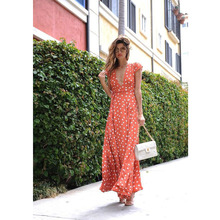 JSMY New Bohemian Chiffon Polka Dot Short Sleeve V-neck Long Dress Maxi Dress raglan sleeve chiffon maxi dress
