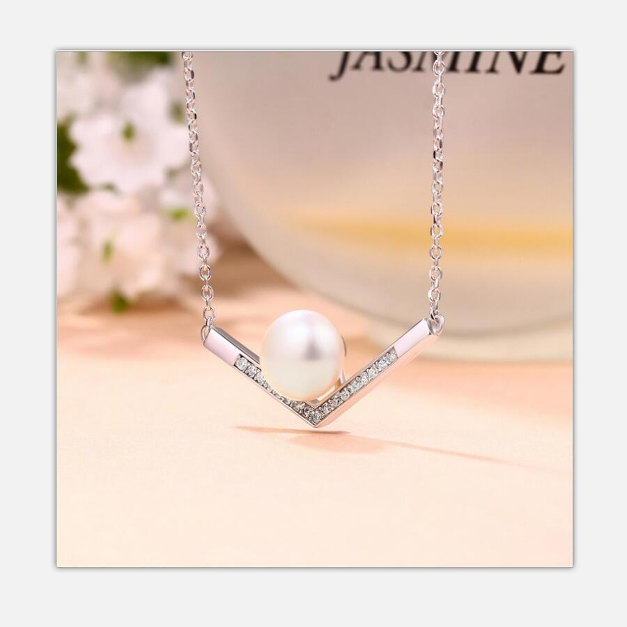 Original fashion jewelry 925 sterling silver diamond pearl necklace female factory direct explosion models J053 in Necklaces from Jewelry Accessories