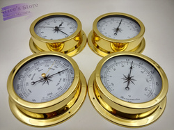4 pcs/set  Brass Case Traditional Weather Station Barometer Temperature Hygrometer  Humidity and Clock  145mm Large size B9145
