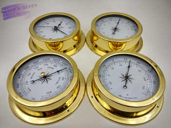 4 pcs/set  Brass Case Traditional Weather Station Barometer Temperature Hygrometer  Humidity and Clock  145mm Large size B9145 - DISCOUNT ITEM  0% OFF All Category