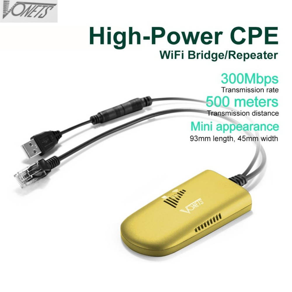 VONETS 300Mbps Mini Portable WiFi Wireless Repeater Bridger with 500Meters Strong Coverage Distance for PC Camera TV