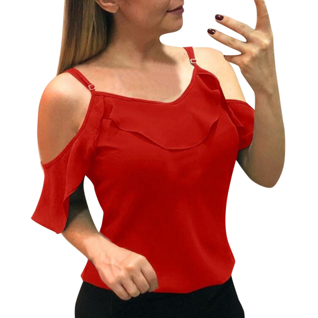 Fashion Women Off Shoulder Summer Solid Strappy Ruffle Casual Chiffon Blouse