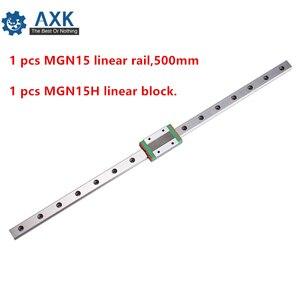 Guía de carro lineal 15mm 500mm Juego de rieles Cnc Motion Guideway 1 Uds Mgn15 Rail,500mm rodamiento acero impresora cortador Way A Mgn15h