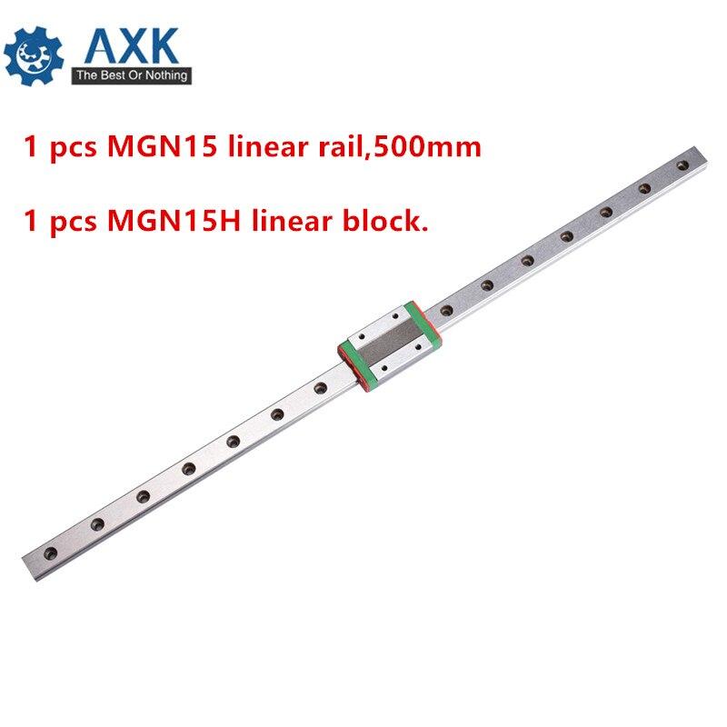 Linear Carriage Guide 15mm 500mm Rail Set Cnc Motion Guideway 1 Pcs Mgn15 Rail,500mm Bearing Steel Printer Cutter Way A Mgn15h