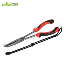 Booms Fishing F05 Hook Remover Bent Long Nose Fishing Alicates 11 pulgadas Teflon plateado de acero inoxidable