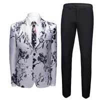 Jacket Terno Masculino Luxury 2 Piece Flower Jacket Pants Suits Slim Fit Business Dress Suit Men Prom Performance Suit Clothing