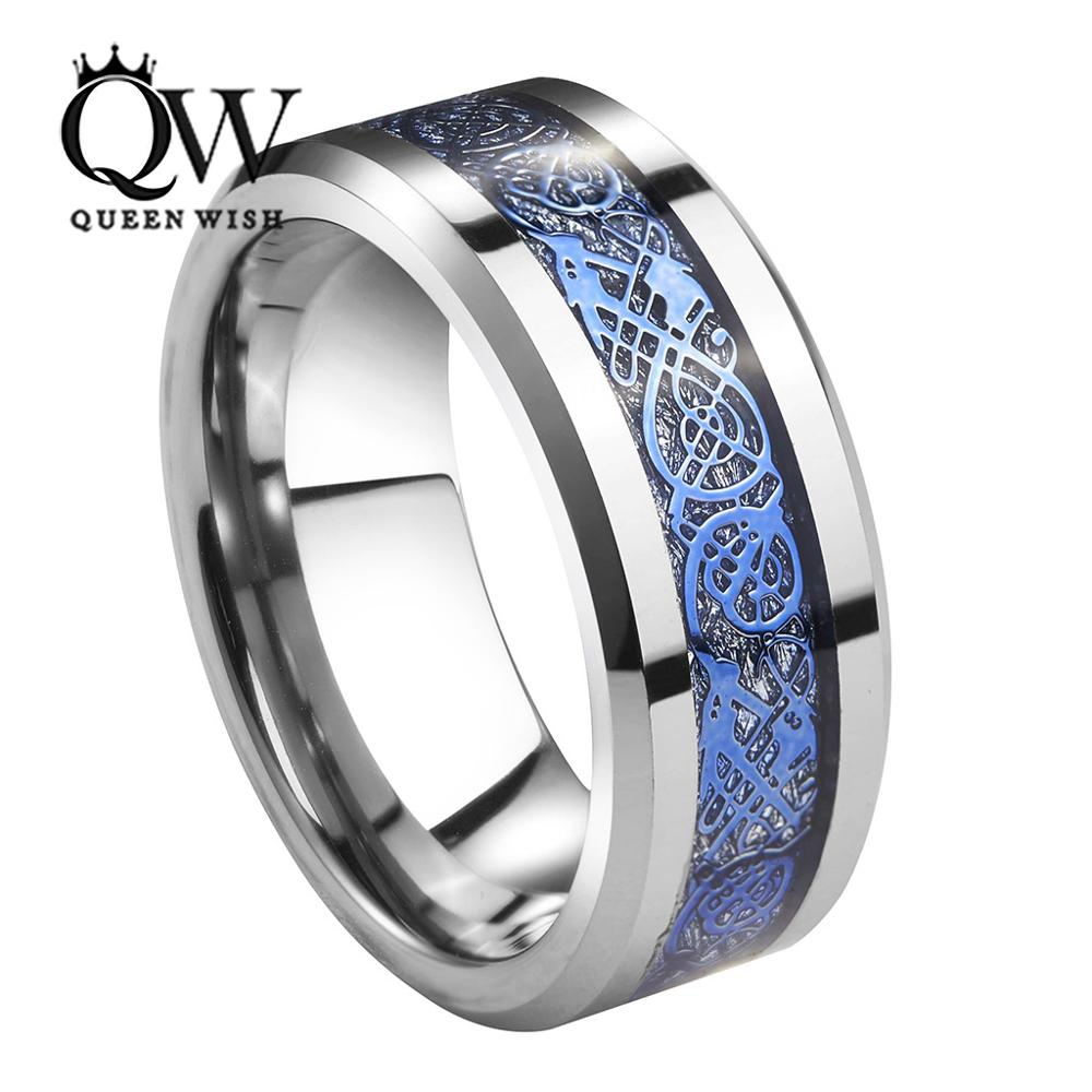 Queenwish 8mm Tungsten Carbide Ring Silver Meteorite Inlay Blue Celtic Dragon Wedding Bands Mens