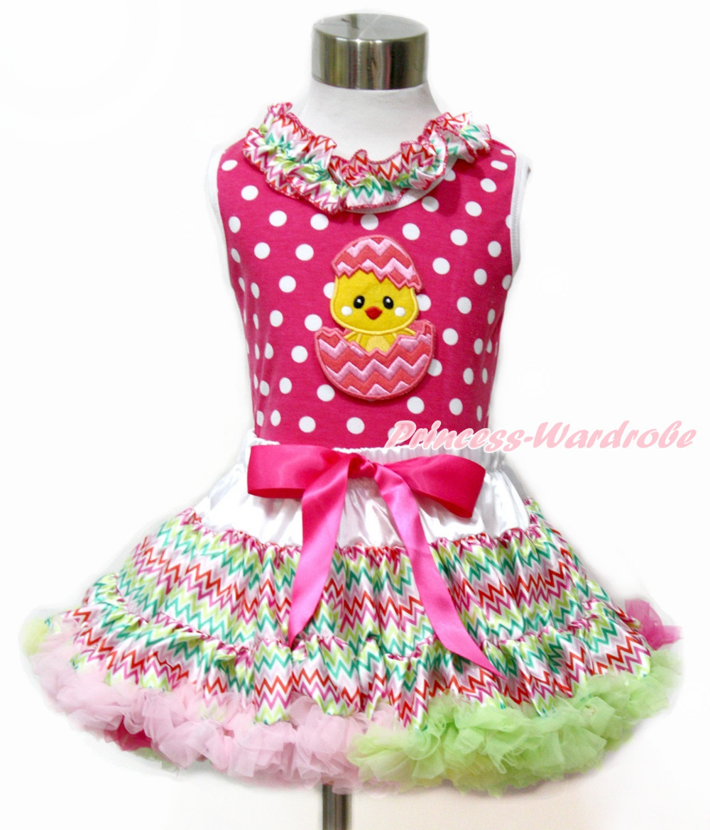 Easter Egg Chick Hot Pink White Dot Top Rainbow Stripe Girl Pettiskirt 1-8Year MAMH174