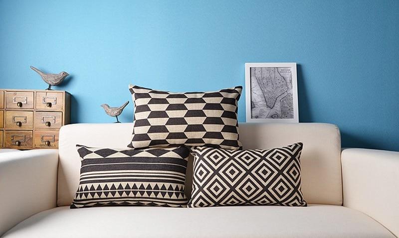 Rectangle Black Nodic Cushion Cover Linen Pillow Cove Northern Europe Geometric Throw Pillows Home Decorative Lumbar pillowcase