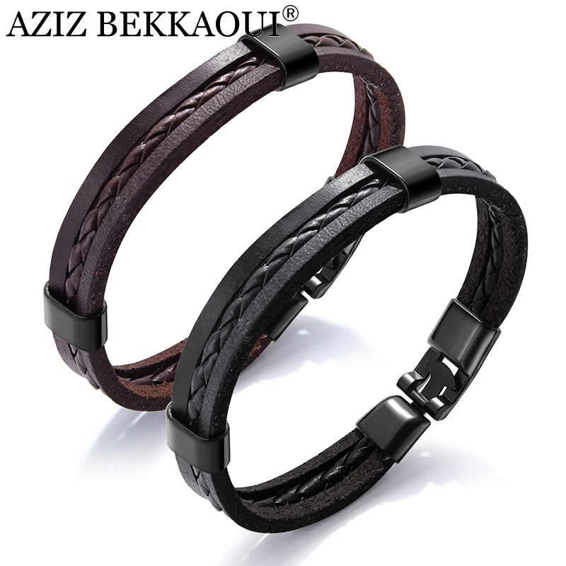 AZIZ BEKKAOUI Vintage Black Punk Leather Bracelets for Male Unique Brown Stainless Steel Bracelet Easy Hook for Men Jewelry Gift