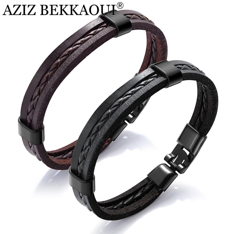 AZIZ BEKKAOUI Vintage Black Punk Leather Bracelets for Male Unique Brown Stainless Steel Bracelet Easy Hook for Men Jewelry Gift