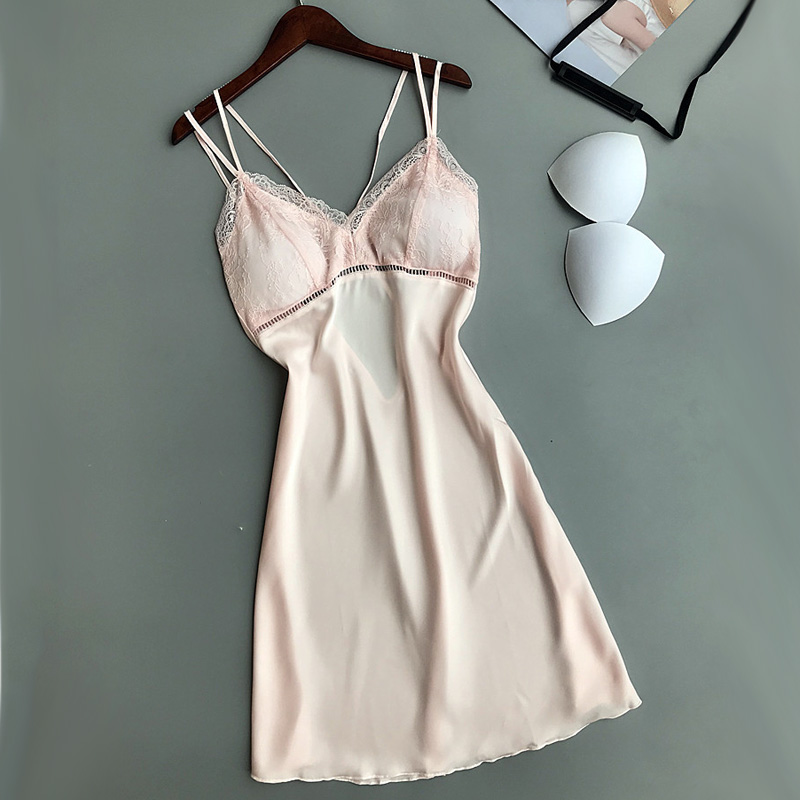 Solid   Nightgowns     Sleepshirts   Sleep Lounge Satin Sleepwear Women Ladies Nightwear Nightdress Sexy Lingerie with Chest Pads 908