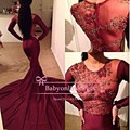 New Fashion 2016 Sexy See Through Burgundy Long Sleeves Mermaid Prom Dresses With Embroidery Top Court Train Women Evening Gowns