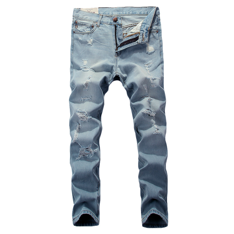 ФОТО quality sky blue destroyed jeans motorcycle Simple designer brand clothing mid stripe slim fit mens moto jeans uomo pants T60050