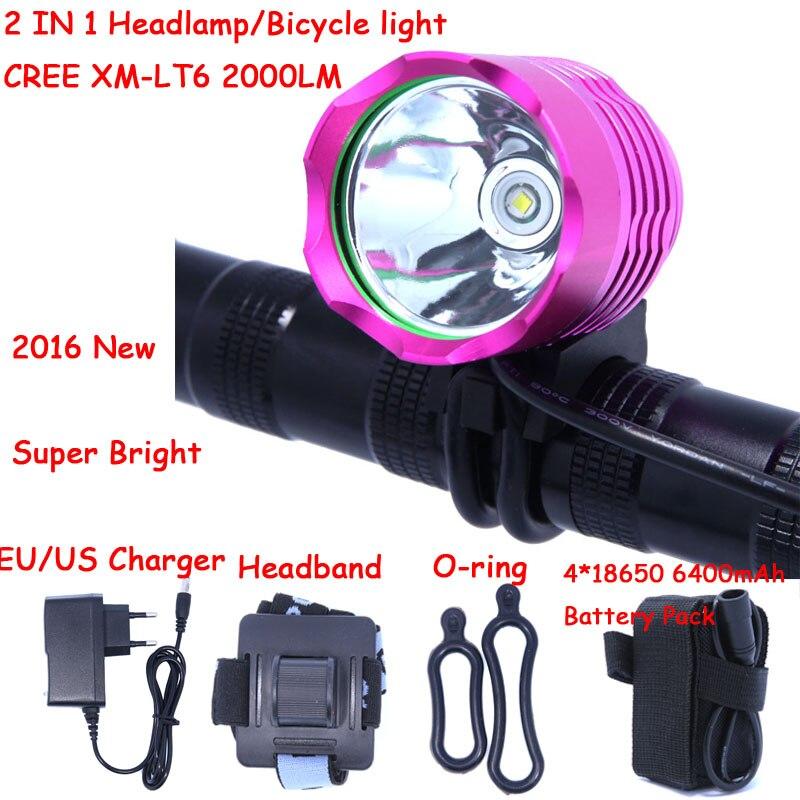 2000 Lumens  XM-L T6 LED Bicycle bike Light Headlamp HeadLight Head Lamp Light With 6400mAh battery Pack & Charger 18000 lumens bike headlamp flashlight 9x cree xm l2 led bicycle light cycling helmet headlight 18650 battery pack charger