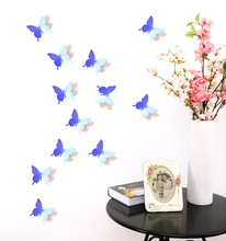 12 PCS House Decoration Stereo Butterflies Refrigerator Stickers Home Decor Removable 3D Wall Stickers Home Decor