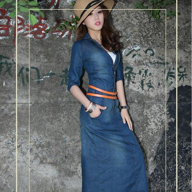 cb7858e9cf Sexy Denim Maxi Dresses Jeans For Women autumn Dress Long 2015 Vestidos  Femininos Ladies Casual Slim