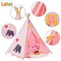 Five Poles Indian Play Tent Children Teepees Kids Tipi Tent Cotton Canvas Teepee White Play House for Baby Room