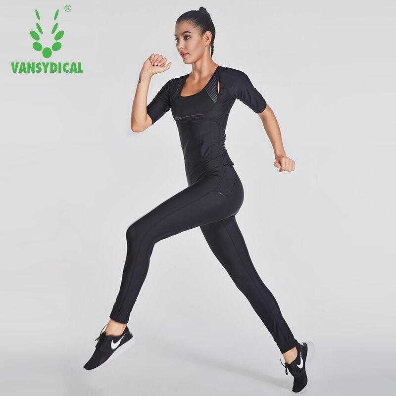 VANSYDICAL 2017 2 pièces vêtements de sport Fitness survêtement entraînement costumes Sweat Yoga costume femmes sport course costumes