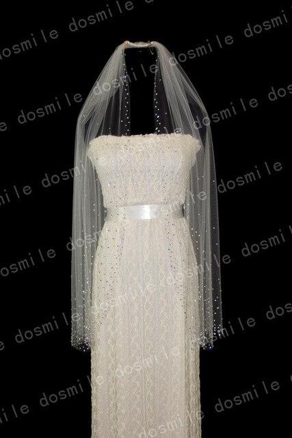 1 Tiers velo de novia Elbow Rhinstone Crystals Sparkling Bead Edge Short  Bridal Veil White&Ivory Wedding Veils Mantilla + Comb