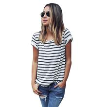 Summer Fashion 2016 New Loose Camisetas Mujer Short-sleeved Striped T shirt Women Simple Casual T-shirts Female Tops Harajuku