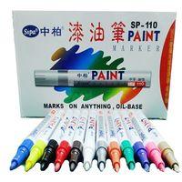 Ofis ve Okul Malzemeleri'ten Tahta Kalemleri'de 12 renk seti kalıcı su geçirmez boya kalemi kalemler araba lastiği kauçuk dekorasyon  zanaat kartı DIY çizim sanat kalem yeni  12 Pack