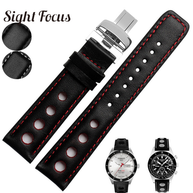 64502ac2415 20mm Perforated Men s Cowhide Leather Watch Bands Strap For Tissot Sports  Racing Series PRS516 T91 Bracelet